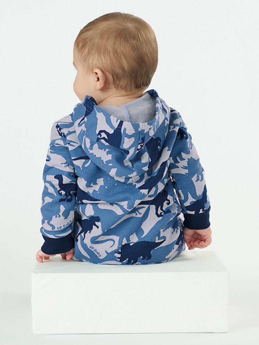 Macacão Bebê em Moletom com Capuz Camuflado Dino Azul Up Baby
