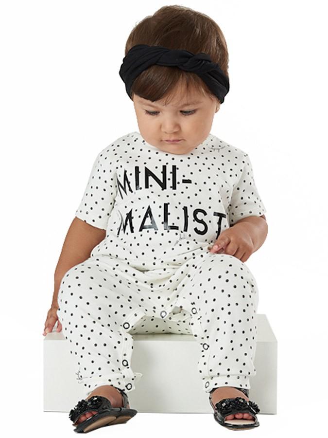 Macacão Infantil com Faixa Minimalist Poás Creme Up Baby