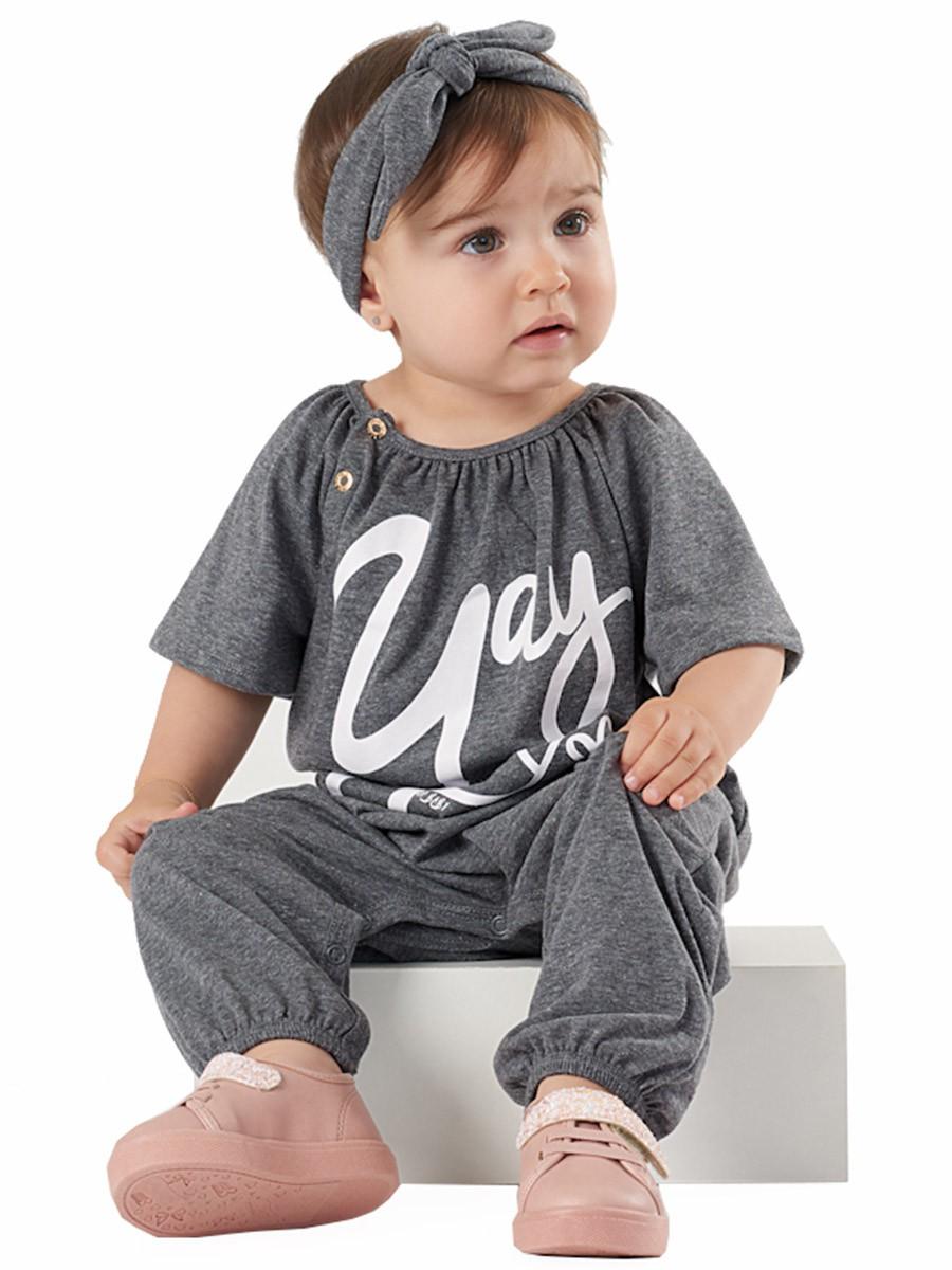 Macacão Infantil Saruel com Faixa Cinza Up Baby