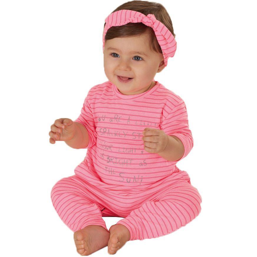 Macacão Bebê Manga Curta com Faixa Rosa Neon Up Baby