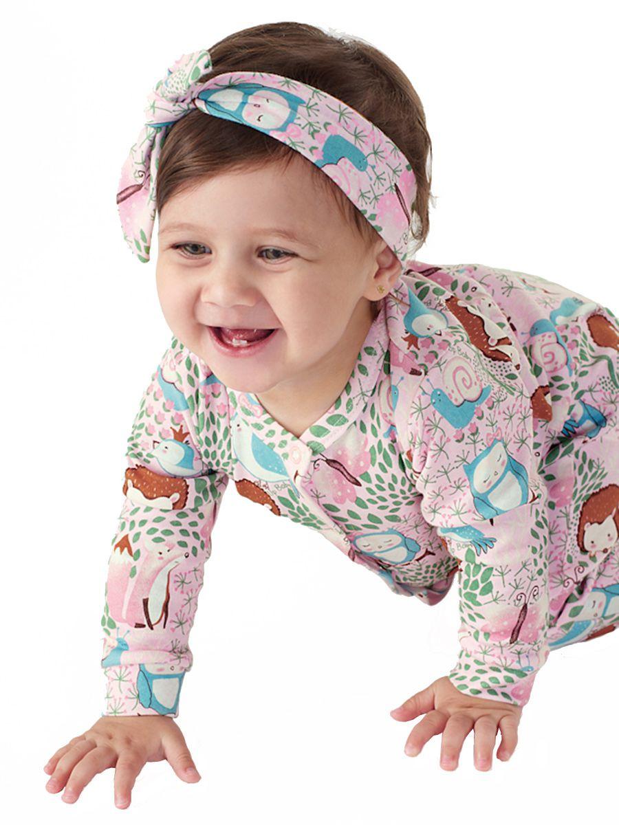 Macacão Bebê Manga Longa com Faixa Bichinhos Rosa Up Baby