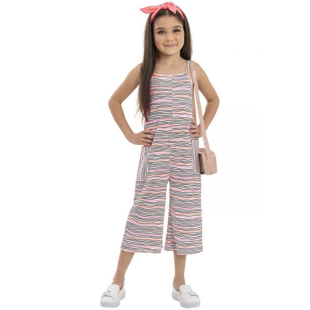 Macacão Infantil Pantacourt com Faixa Listrado Rosa Quimby