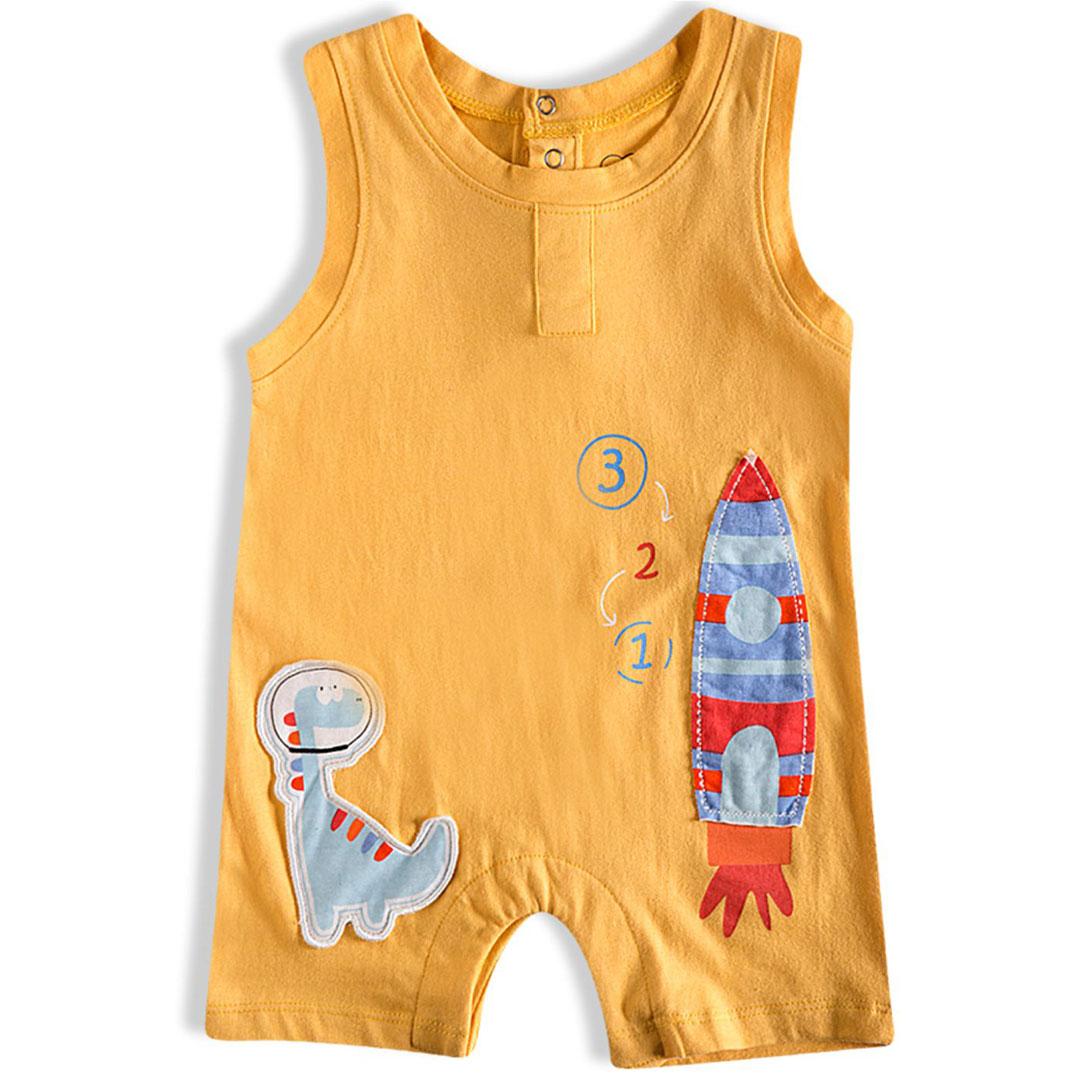 Macaquinho Banho de Sol Bebê Astrodino Ocre Tip Top