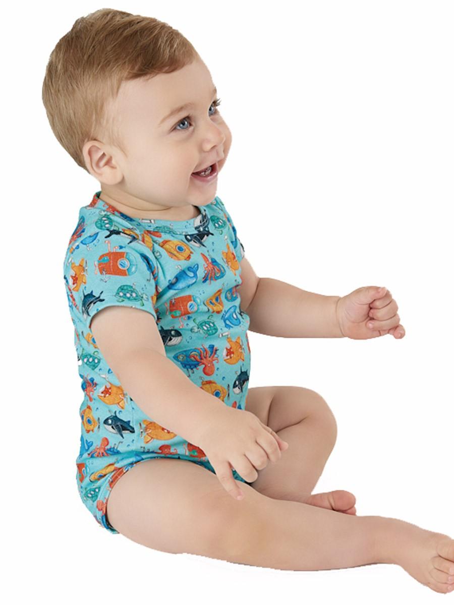 Macaquinho Bebê com Bandana Submarinos Divertidos Azul Up Baby