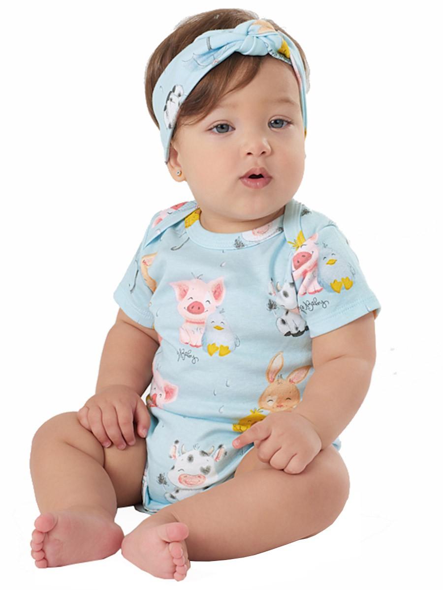 Macaquinho Bebê com Faixa Bichinhos Fazendinha Azul Up Baby