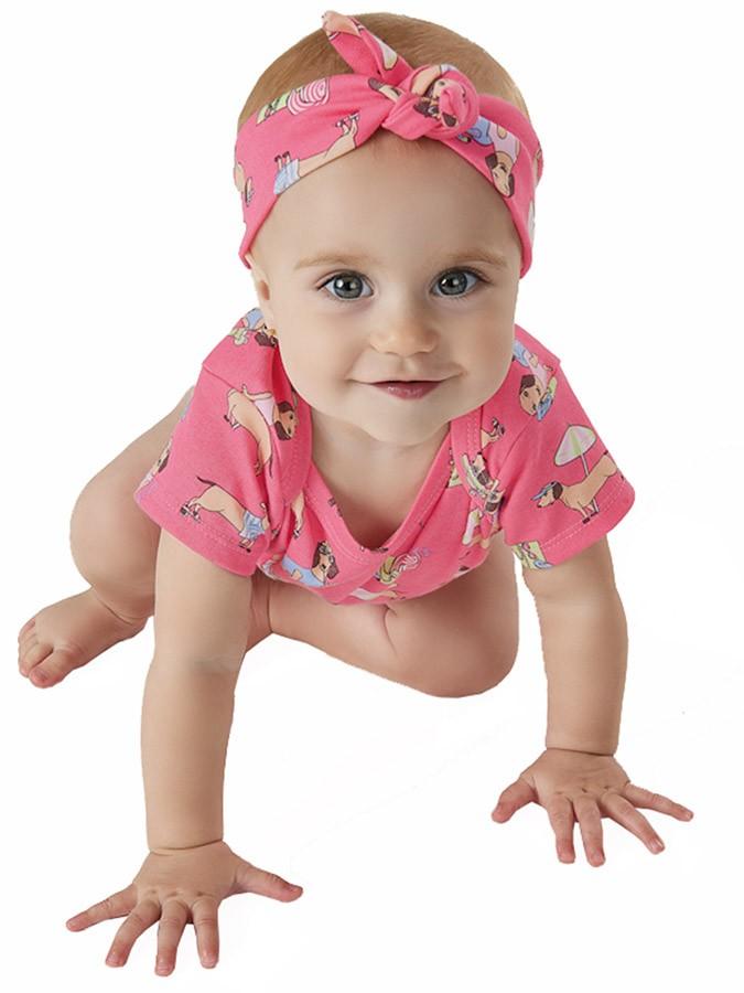 Macaquinho Bebê com Faixa Cachorrinhos Rosa Up Baby