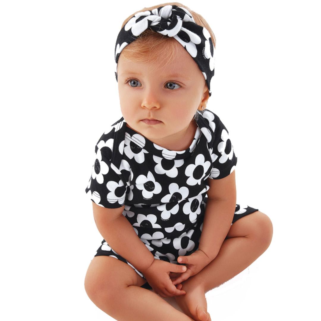Macaquinho Bebê com Faixa FLoral Preto Up Baby