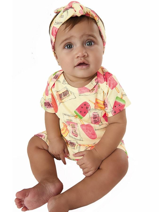 Macaquinho Bebê com Faixa Sorvetinhos Amarelo Up Baby