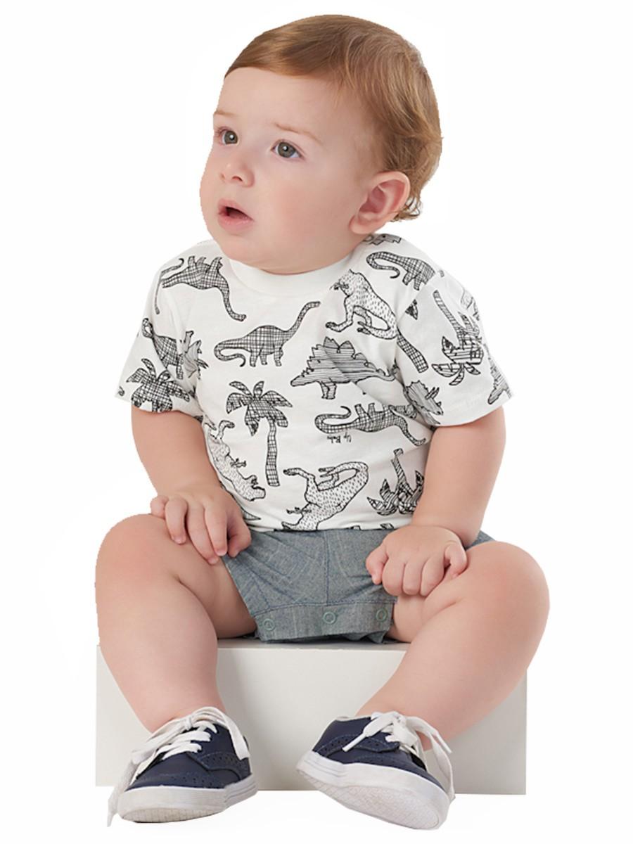 Macaquinho Bebê Dinossauros Branco Up Baby