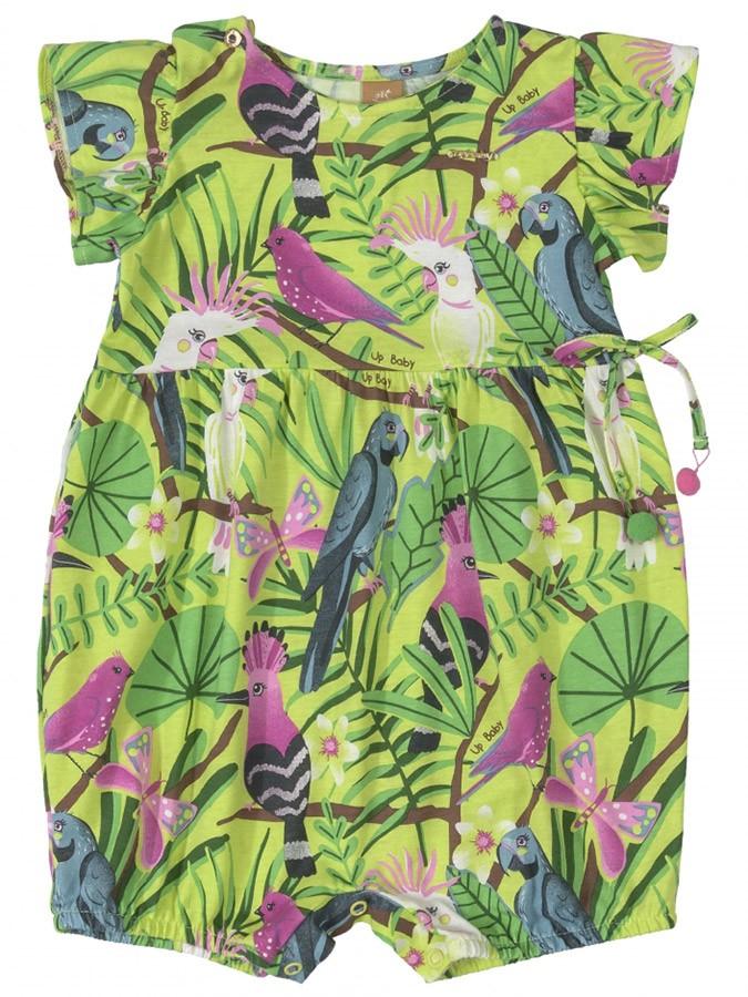 Macaquinho Infantil Pássaros Tropical Verde Up Baby