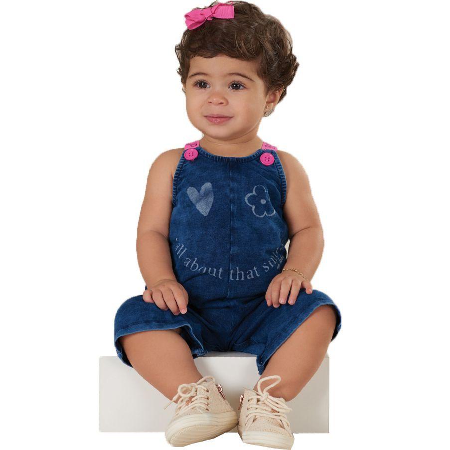 Jardineira Macacão Infantil em Malha Jeans Up Baby