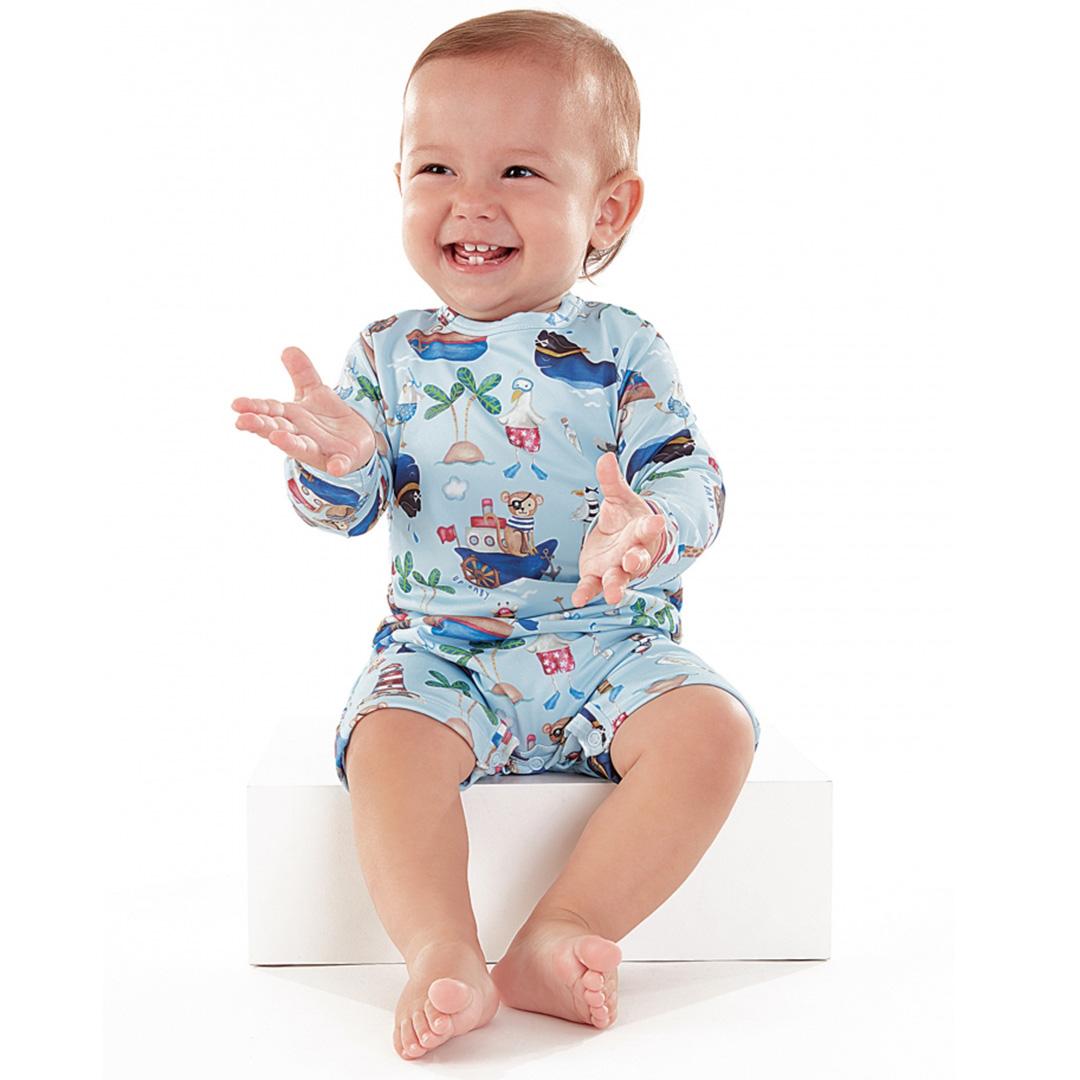 Macaquinho Praia Infantil Barquinhos Azul Up Baby