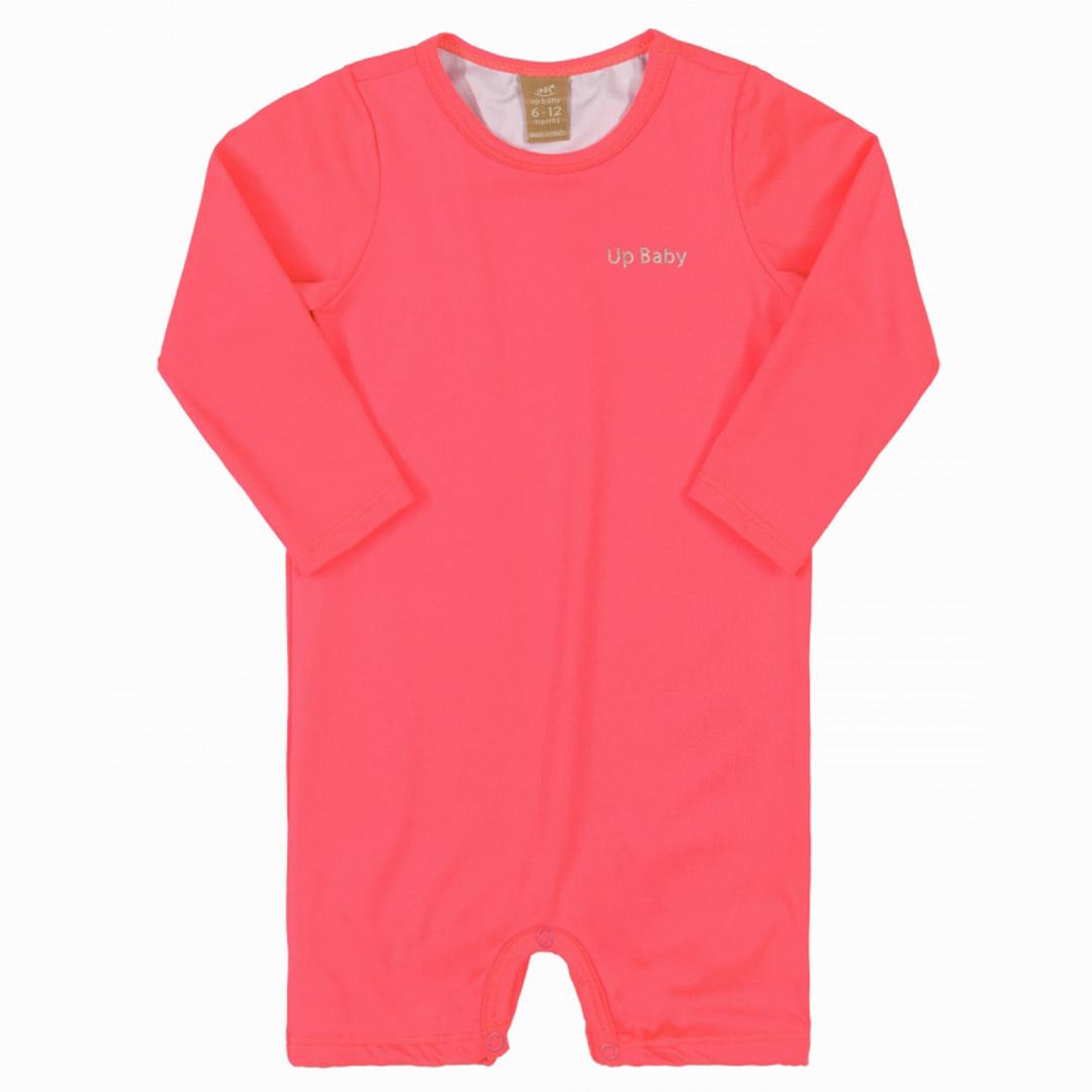 Macaquinho Praia Infantil Pink Flúor Neon Up Baby