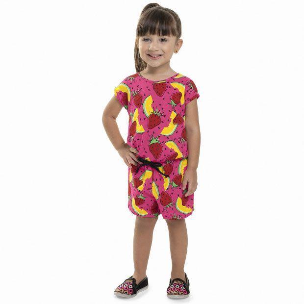 Macaquinho Infantil sem Manga Frutas Pink Bee Loop