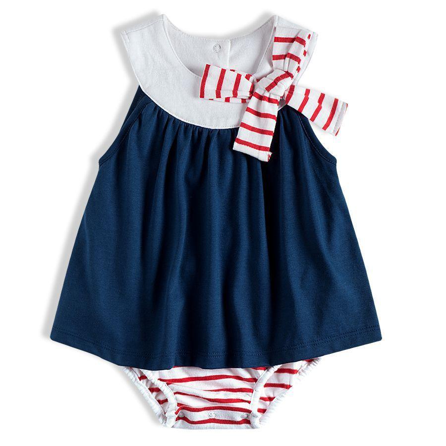 Macaquinho Vestido Bebê Marinho Tip Top