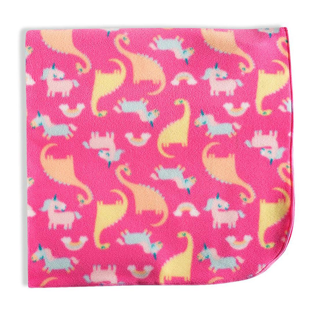 Manta Bebê Soft Dinos Unicórnios Rosa Tip Top