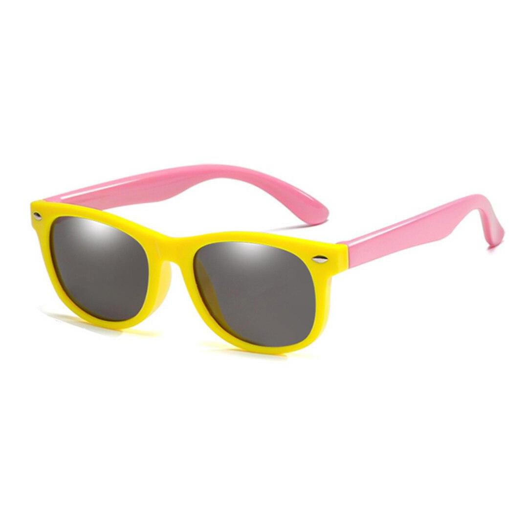 Óculos de Sol Flexível Infantil + Case Carrinho Amarelo e Rosa