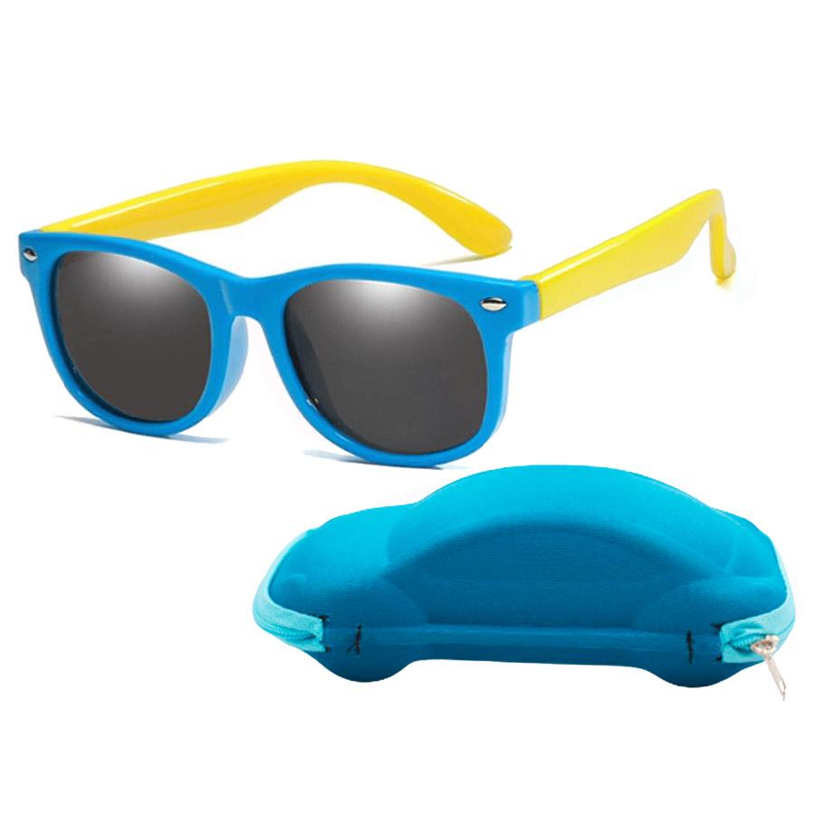 Óculos de Sol Flexível Infantil + Case Carrinho Azul e Amarelo