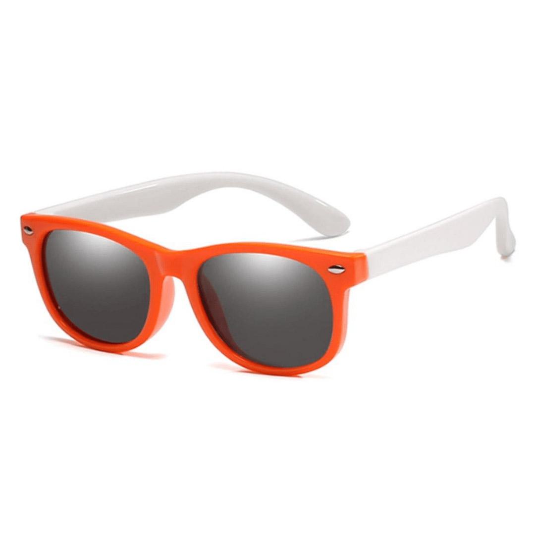 Óculos de Sol Flexível Infantil + Case Carrinho Laranja e Branco
