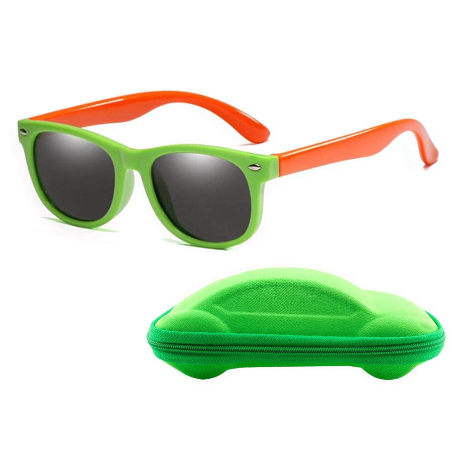 Óculos de Sol Flexível Infantil + Case Carrinho Laranja e Verde