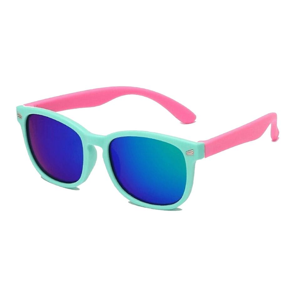Óculos de Sol Flexível Infantil + Case Carrinho Verde Água e Rosa Espelhado
