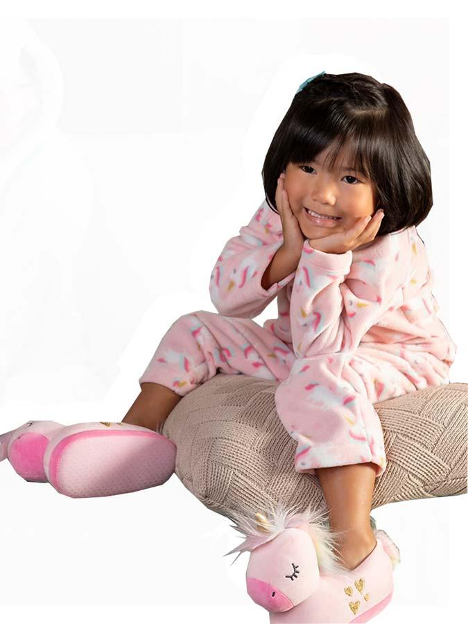 Pantufa Infantil Unicórnio Rosa Tip Top