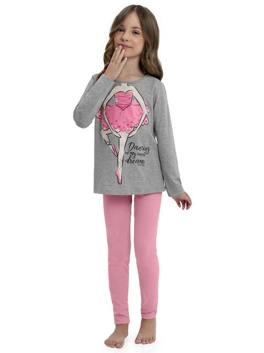 Pijama Infantil Blusa e Calça Bailarina Mescla Cinza Quimby