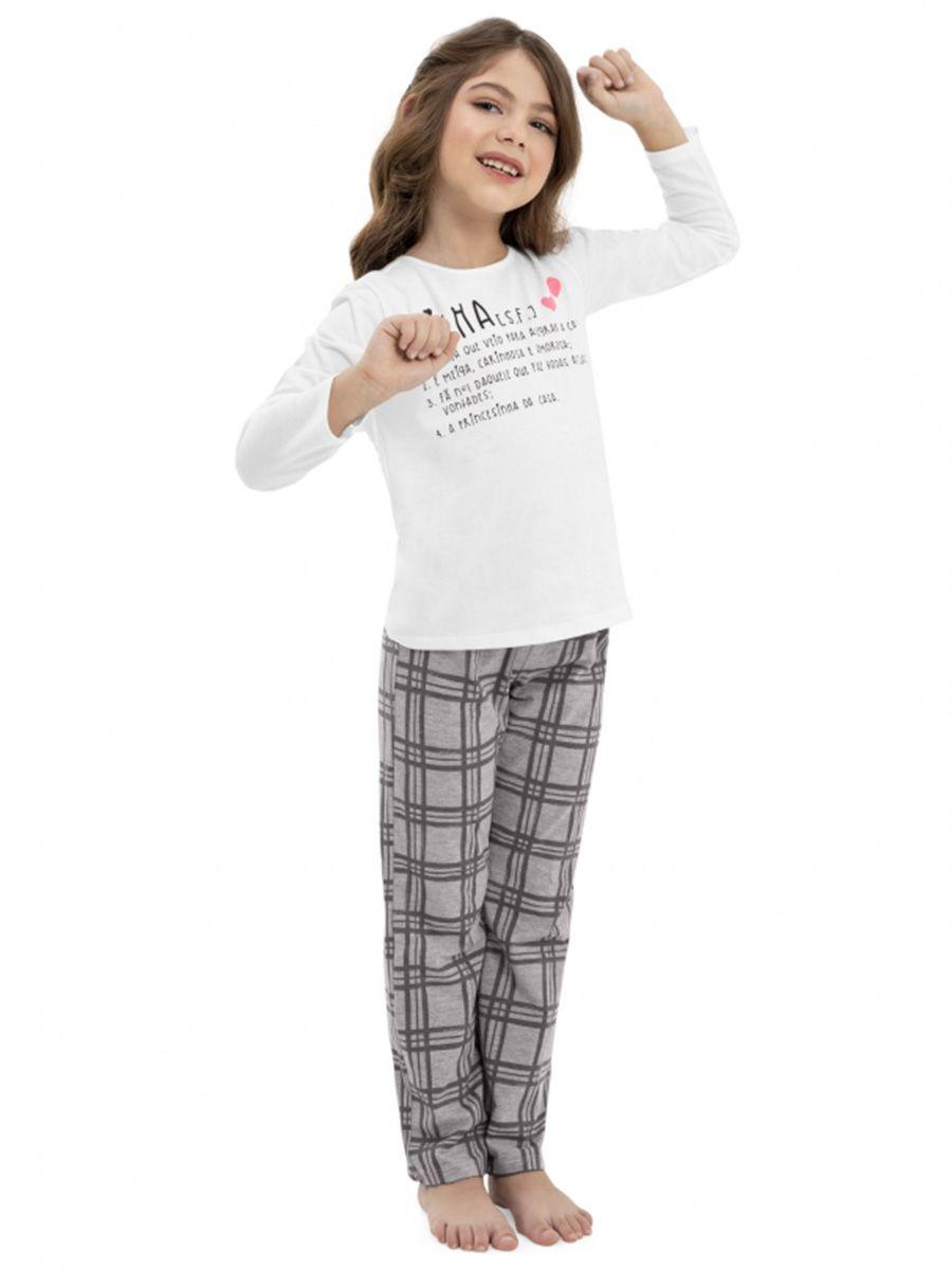 Pijama Infantil Blusa e Calça Branco Quimby
