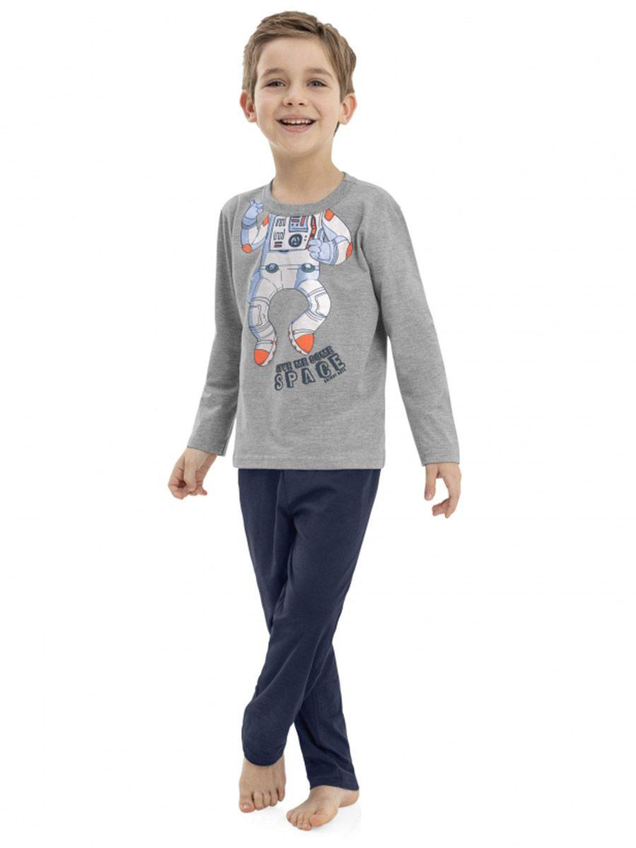 Pijama Infantil Camiseta e Calça Astronauta Mescla Cinza Quimby