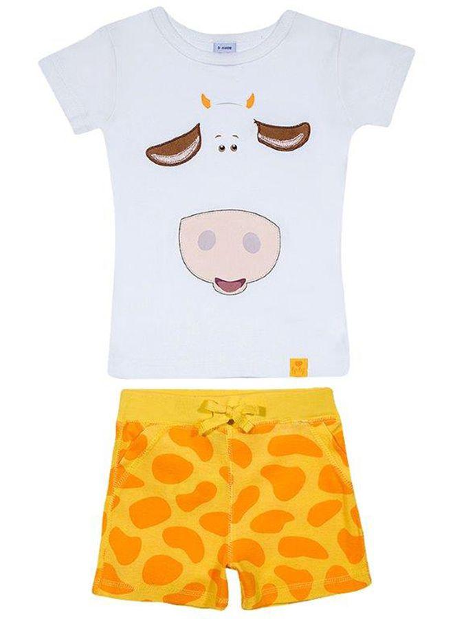 Pijama Infantil Curto Branco Girafa Tip Top