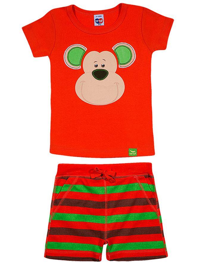 Pijama Infantil Curto Macaco Laranja Tip Top