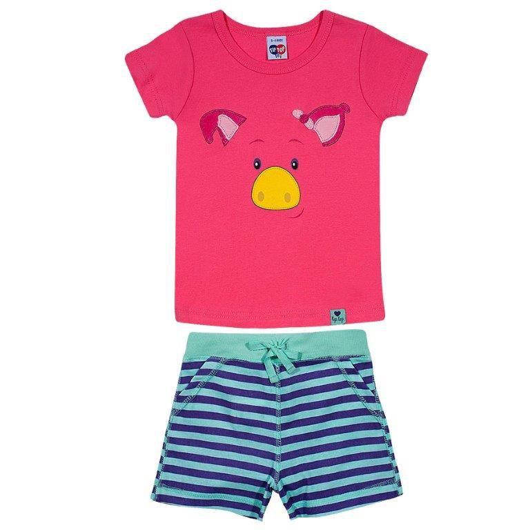 Pijama Infantil Curto Porquinha Rosa TIp Top