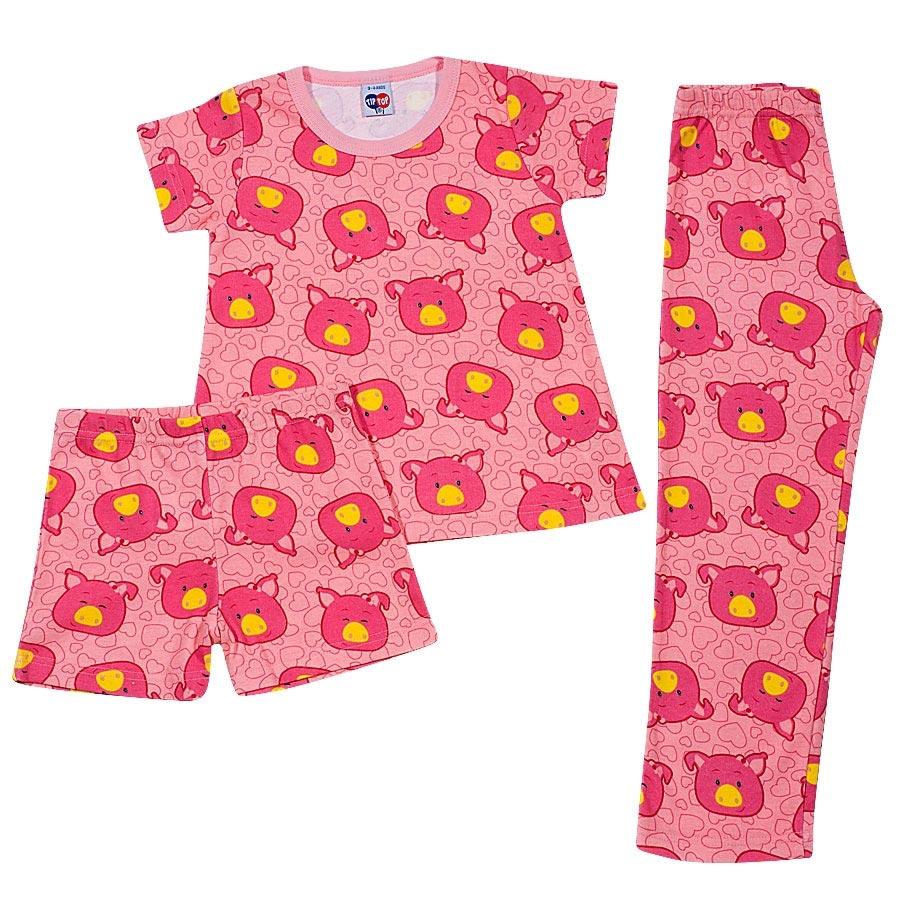 Pijama Infantil 3 Peças Tipguinhos Porquinhas Rosa Tip Top