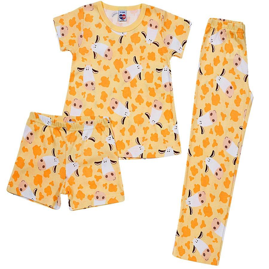Pijama Infantil 3 Peças Tipguinhos Vaquinhas Amarelo Tip Top