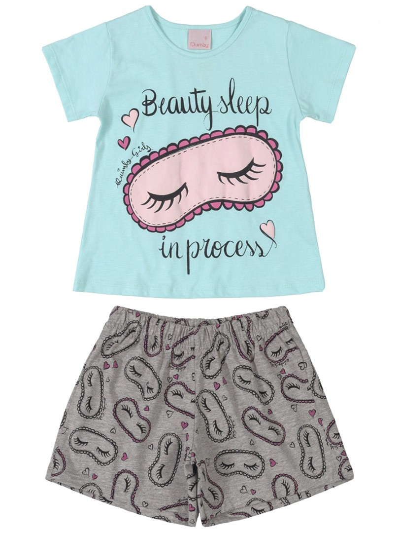 Pijama Infantil Blusa e Shorts Beauty Sleep Azul Água Quimby