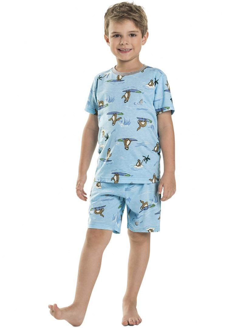 Pijama Infantil Camiseta e Shorts Preguiças Azul Quimby