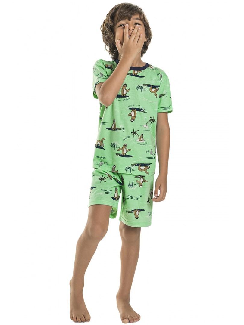Pijama Infantil Camiseta e Shorts Preguiças Verde Quimby