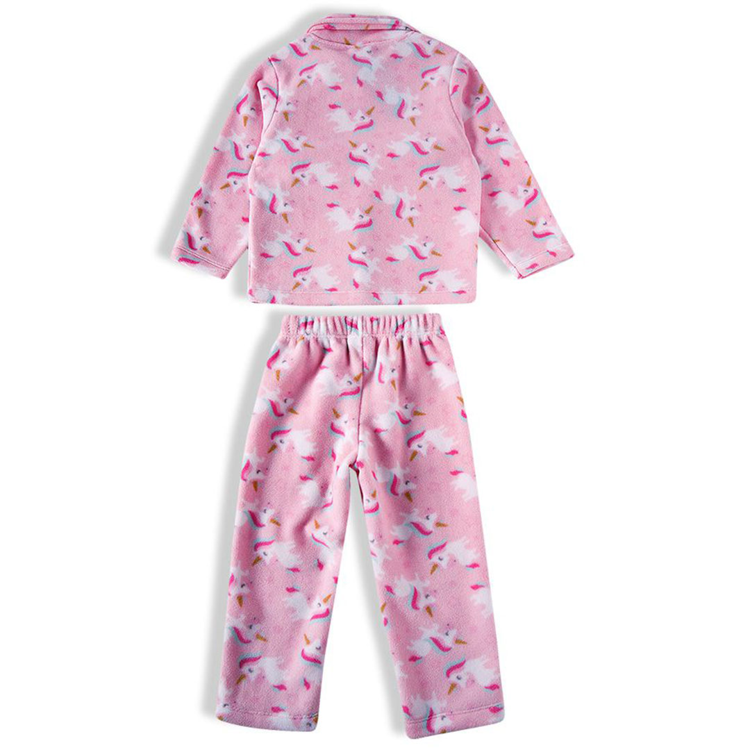 Pijama Infantil Longo Soft Unicórnios Rosa Claro Tip Top