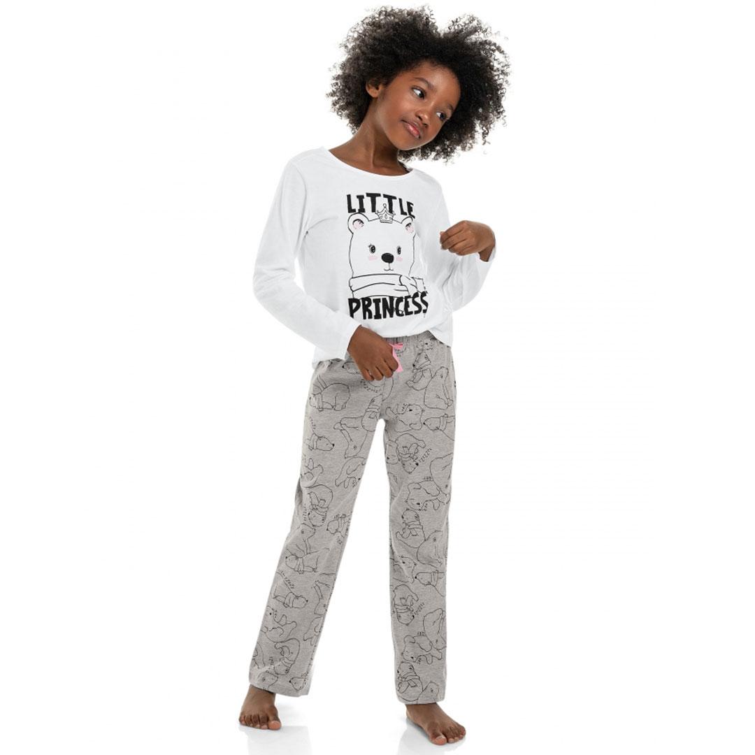 Pijama Infantil Manga Longa Little Princess Branco Quimby