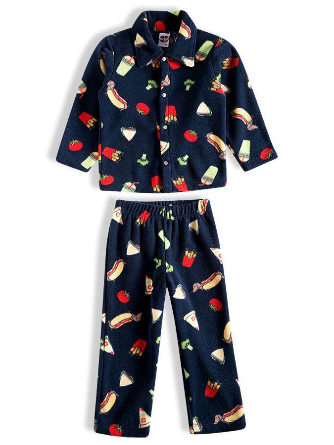 Pijama Infantil Longo Soft Fast Food Marinho Tip Top