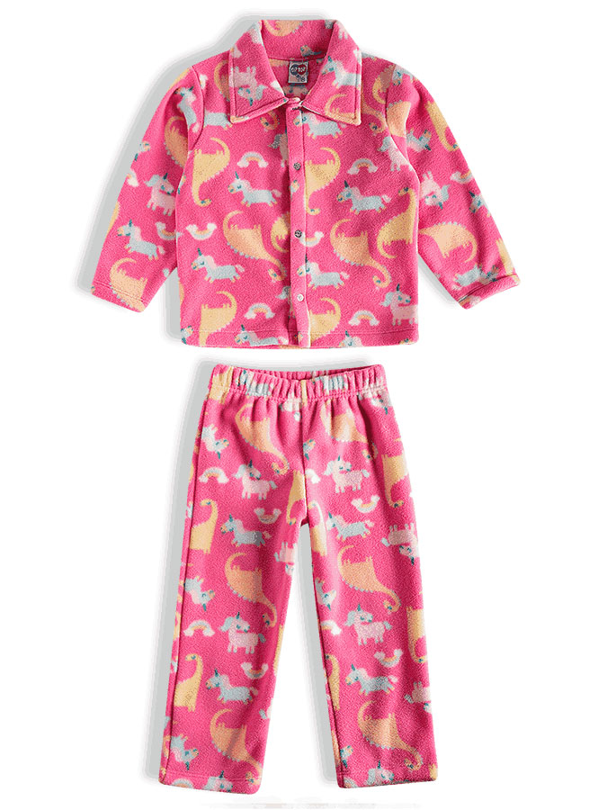 Pijama Infantil Longo Soft Unicórnios Rosa Tip Top