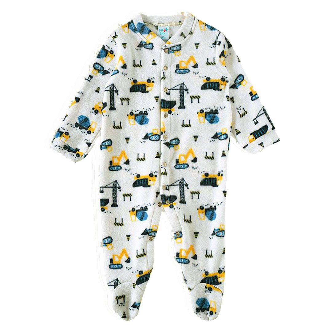 Pijama Macacão Bebê Soft Construção Off White Tip Top