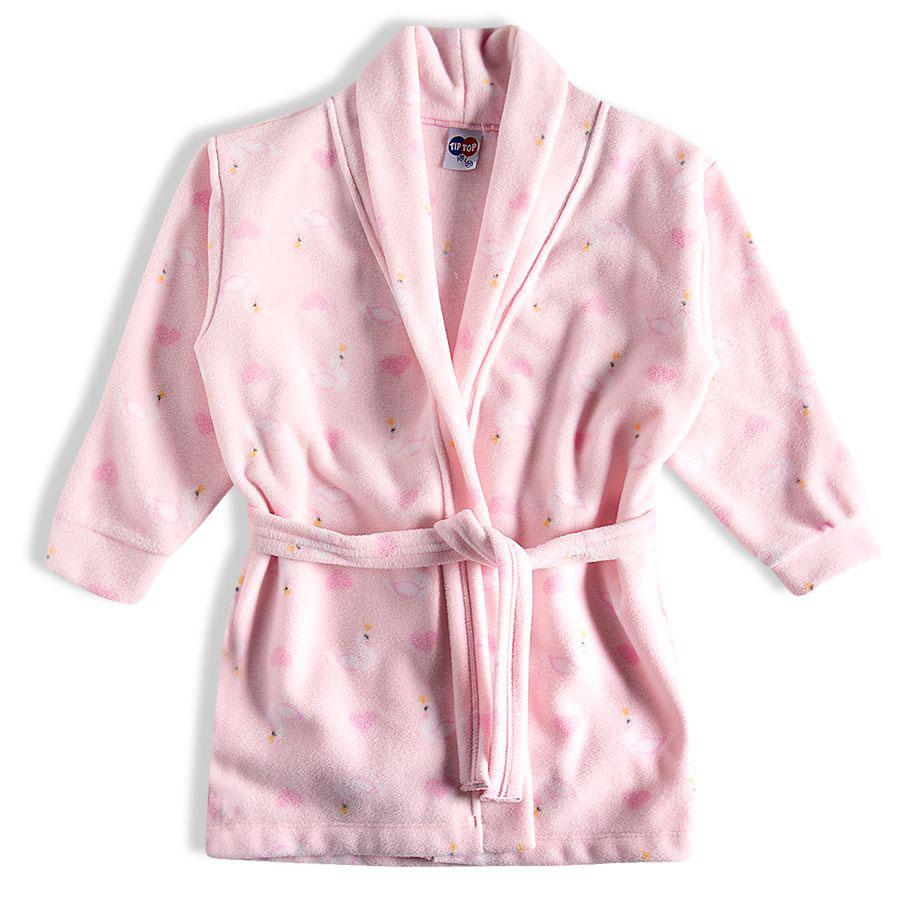 Roupão de Inverno Infantil Longo Soft Cisnes Rosa Tip Top