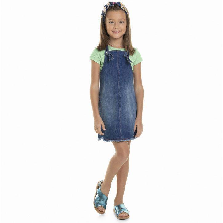 Vestido Salopete Infantil Jeans com Faixa Quimby