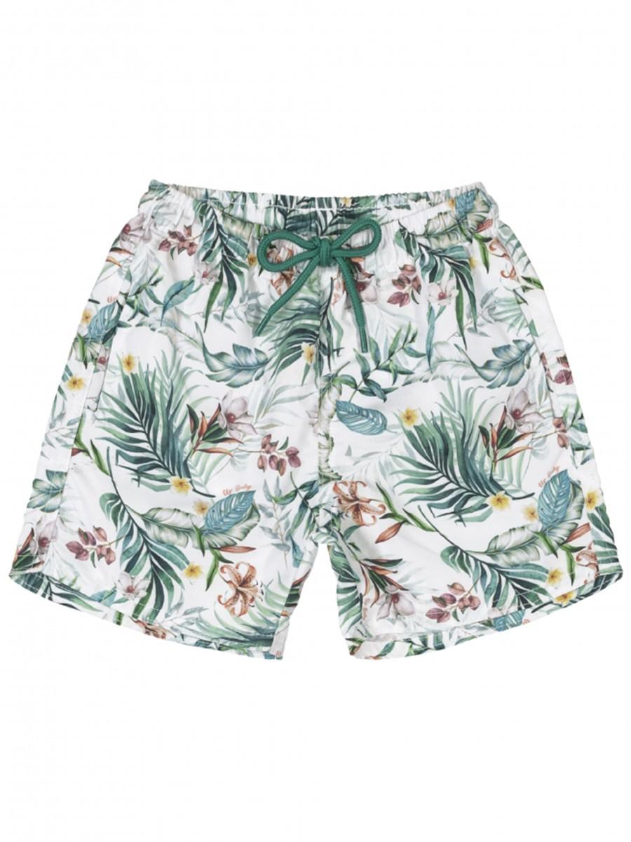 Shorts Infantil em Microfibra Tropical Branco Up Baby