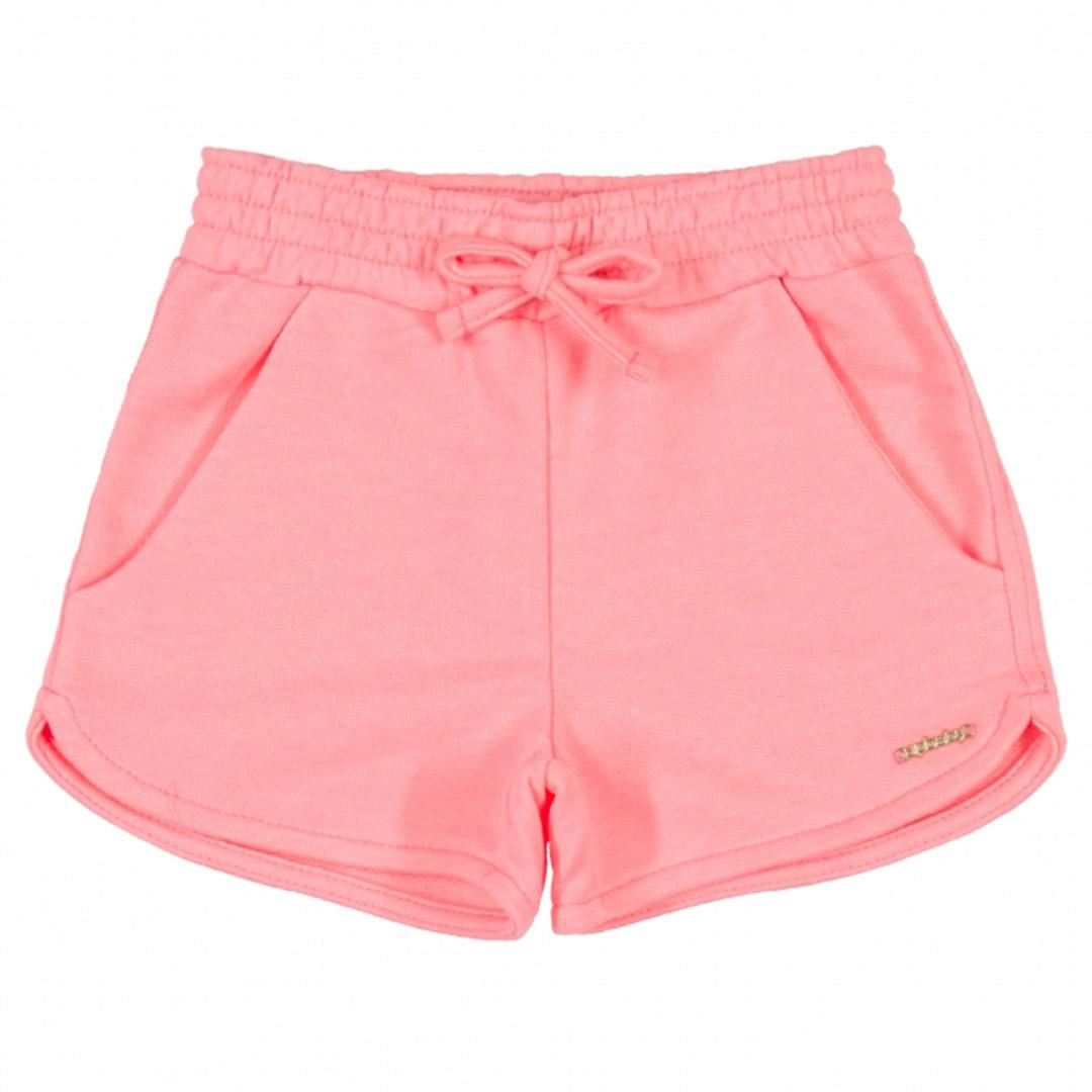 Shorts Infantil Menina em Moletom Rosa Flúor Up Baby