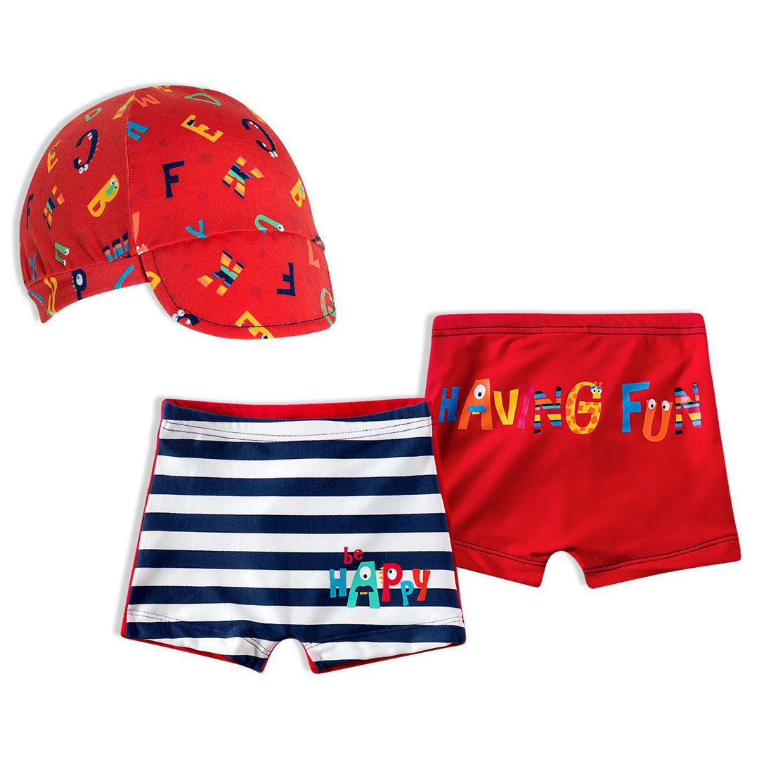 Shorts Praia Bebê com Boné Alfabeto ABC Vermelho Tip Top