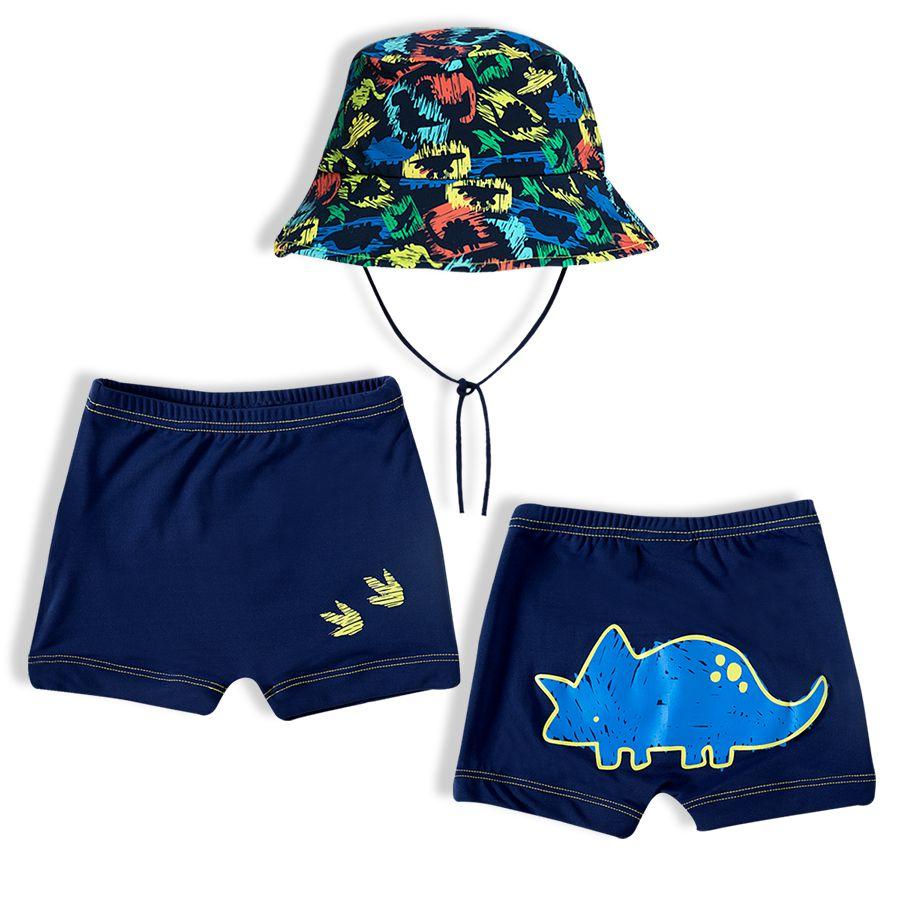 Shorts Praia Infantil com Chapéu Dino Rabisco Marinho Tip Top