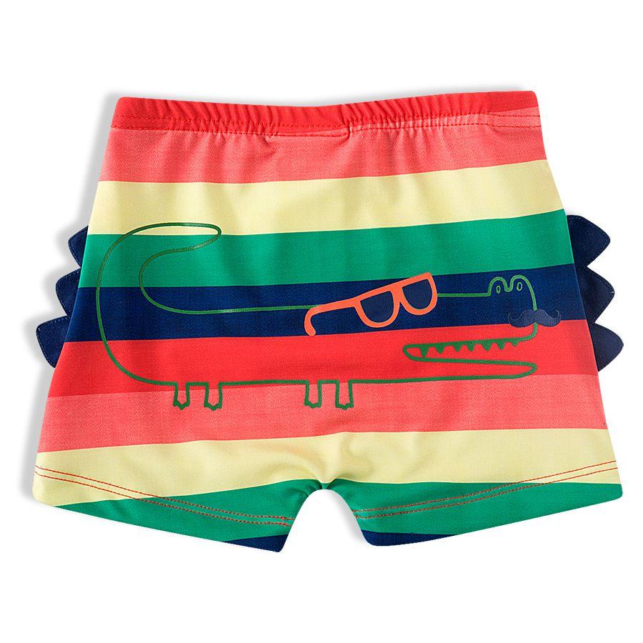 Shorts Praia Infantil Jacaré Colorido Laranja Tip Top
