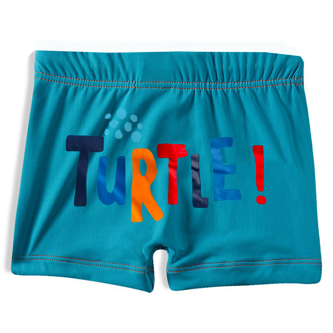 Shorts Praia Infantil Tartarugas Azul Tip Top